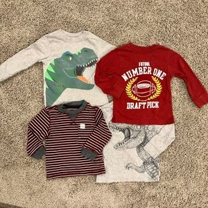 4 Carter's boys long sleeved shirts, size 2T